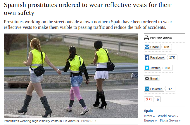 Spanish prostitutes ordered to wear reflective vests
