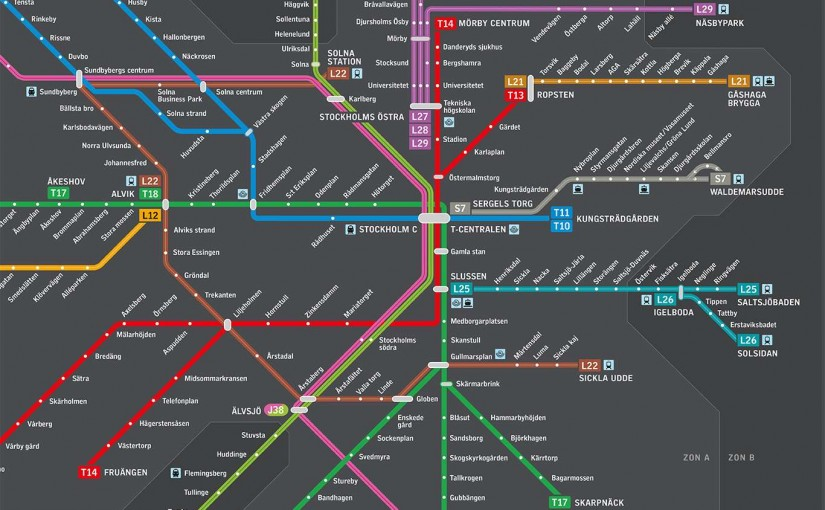 Stockholm, public transport map