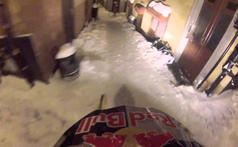 riding a snowmobile in Stockholm